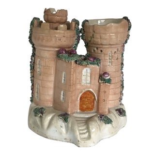 Medium Sized Peach Colored Staffordshire Castle Cottage Pastille Burner Spill Vase For Sale