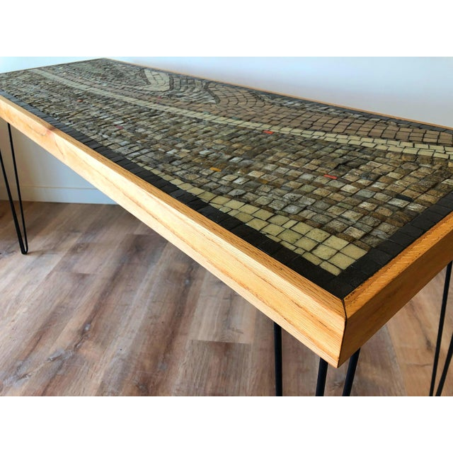 Mid-Century Modern Vintage Wood Framed Tile Mosaic Sofa Table With Hairpin Legs For Sale - Image 3 of 13