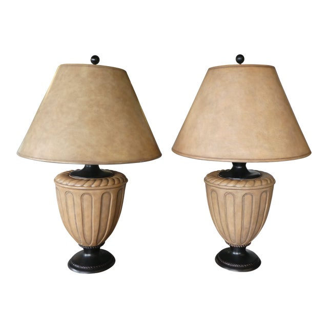 Kreiss Furniture Neoclassical Leather Clad Bulbous Lamps On Marble
