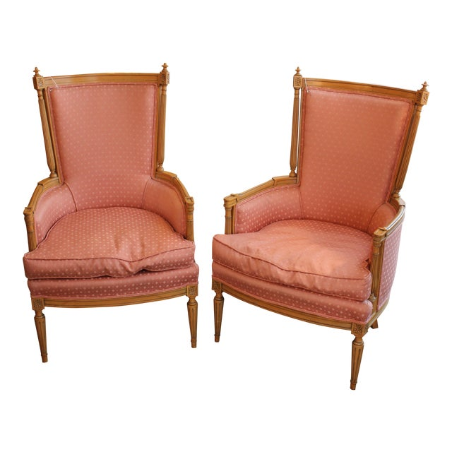 Vintage Salmon Armchairs - A Pair - Image 1 of 8