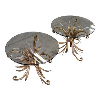1970s Hollywood Regency Wheat Sheaf Side Tables - a Pair For Sale