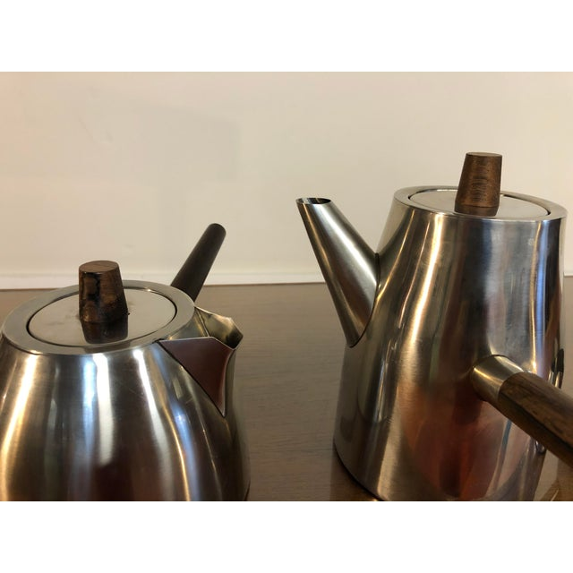 Metal Vintage Danish Stainless and Rosewood Coffee and Tea Set Made in Denmark by Lundtofte For Sale - Image 7 of 12