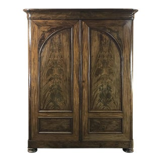 19th Century French Louis Philippe Period Burl Mahogany Armoire For Sale