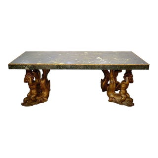 Grand Italian Marble and Carved Gilt Stucco Dining Table For Sale
