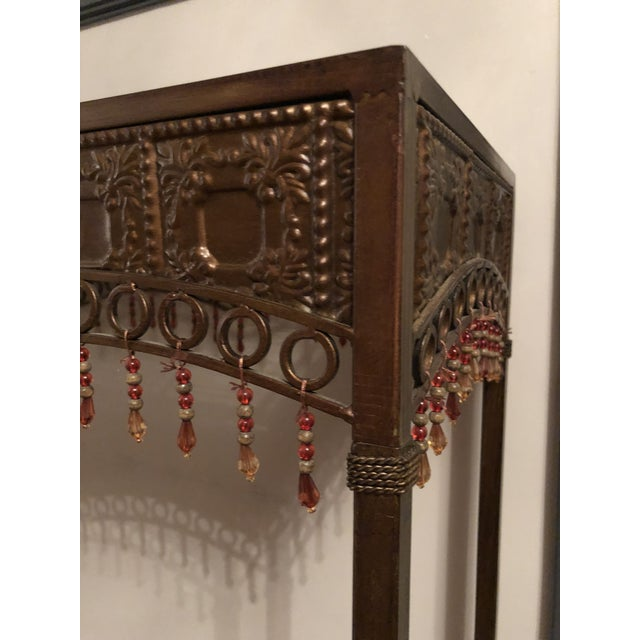 Bombay Co. Bohemian Hammered Bronze Copper Metal Accent Table For Sale In Philadelphia - Image 6 of 13