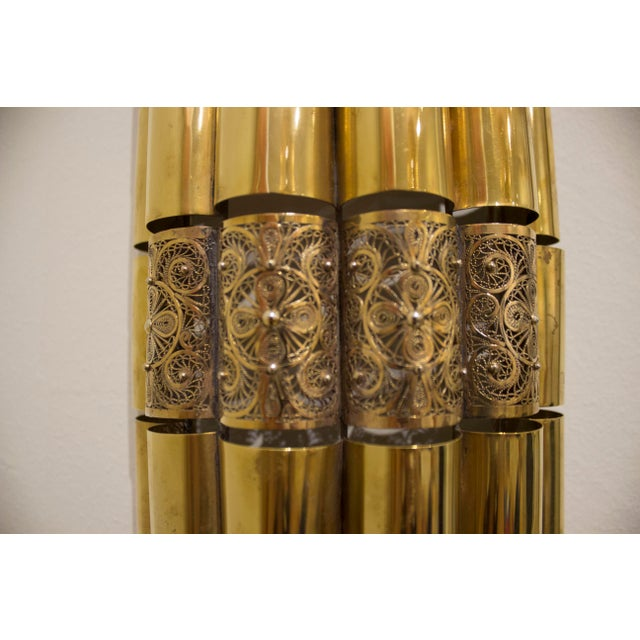 Moroccan Brass Filligree Sconce For Sale - Image 4 of 6
