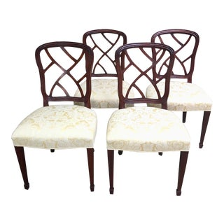 1980s Vintage Kindel Mahogany Hepplewhite Dining Chairs - Set of 4 For Sale
