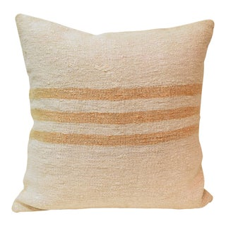 Hand Woven Cream With Gold Stripes Kilim Wool Hemp Pillow For Sale