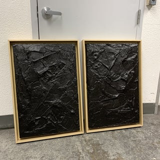 Original Artwork Black + Gold Sculptural Diptych Paintings - a Pair Preview