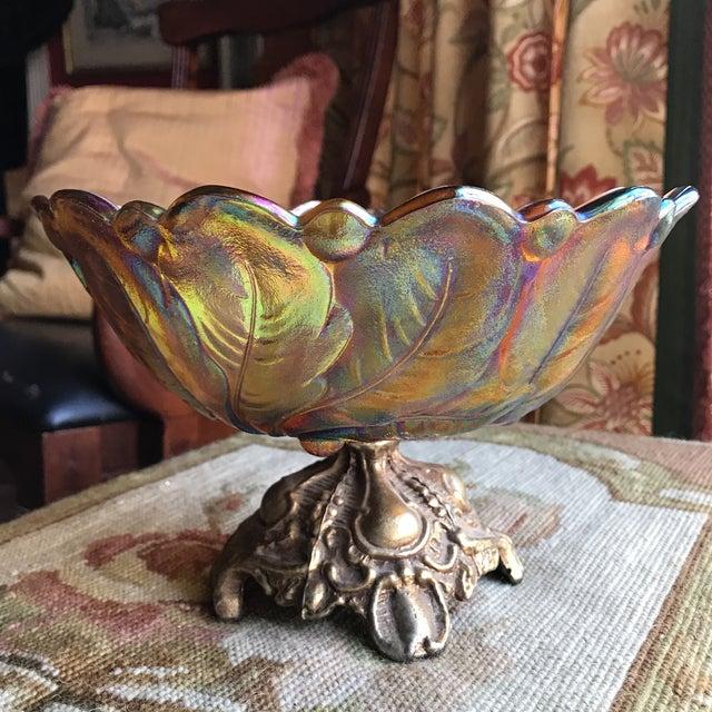 Orange Amber Carnival Glass Sunflower Pedestal Bowl For Sale - Image 8 of 8