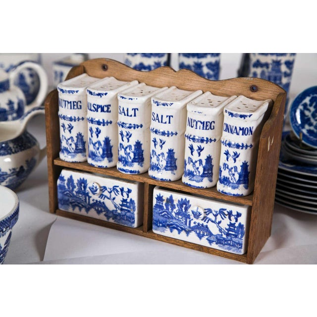 Vintage Collection of Blue and White Willow - Set of 40 For Sale - Image 4 of 12