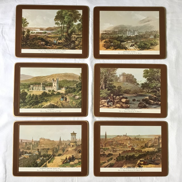 Set of six (6) placemats with various scenic depictions of points of interest located in England - View of the Clyde,...