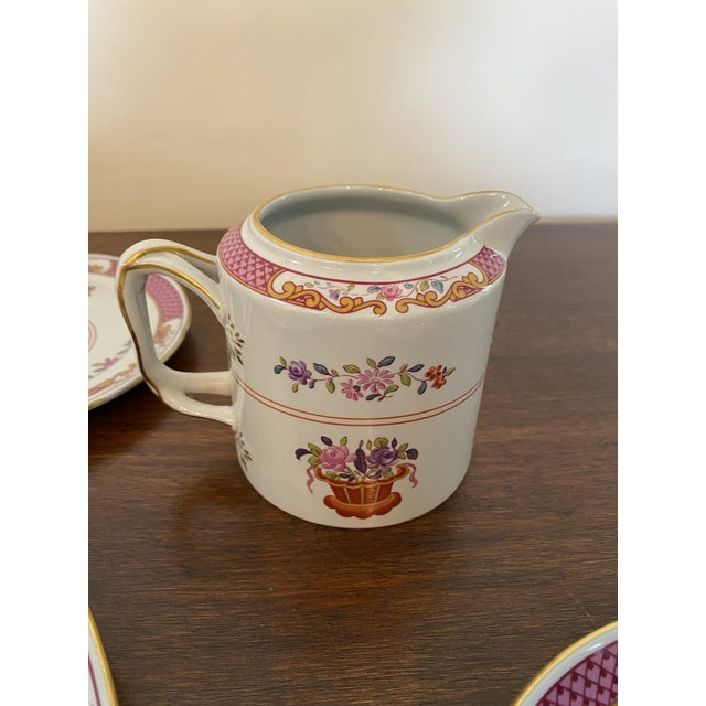 Dark Pink Spode China Lord Calvert Pattern Service for 8 Dinnerware - 60 Piece Set For Sale - Image 8 of 12