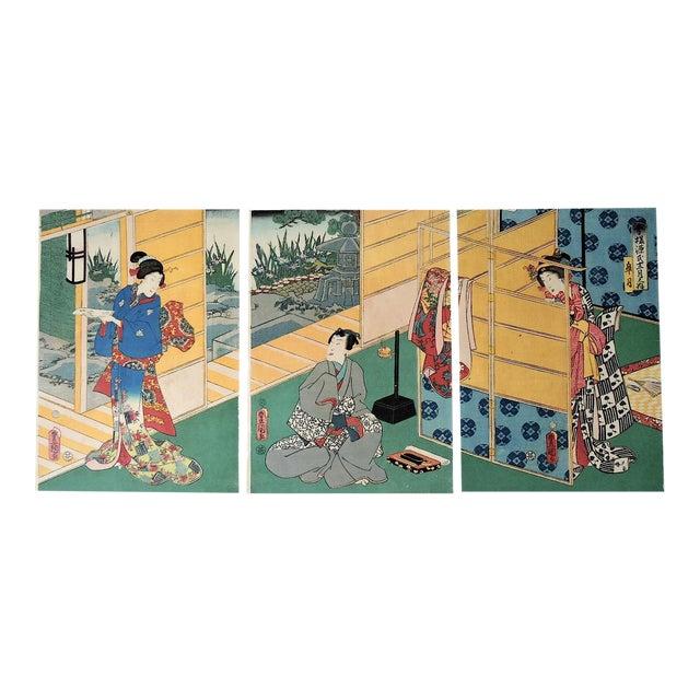 Antique Japanese Ukiyo-E Woodblock Triptych of Prince Genji by Utagawa Kunisada 1786-1865 For Sale