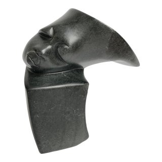 Early 20th Century Modernist Carved Bust For Sale