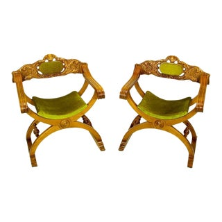 Pair Italian Curule Campaign Chairs In Wood & Chartreuse Velvet For Sale