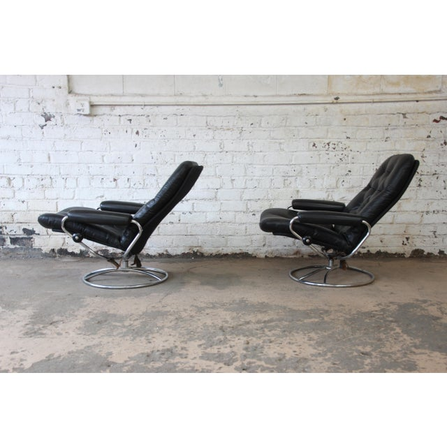 Metal Vintage Black Leather Ekornes Stressless Lounge Chairs & Ottomans - a Pair For Sale - Image 7 of 9