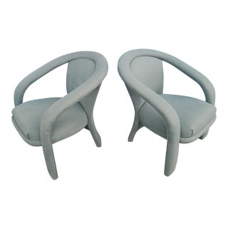 1980s Vladimir Kagan Style Lounge Chairs- a Pair For Sale