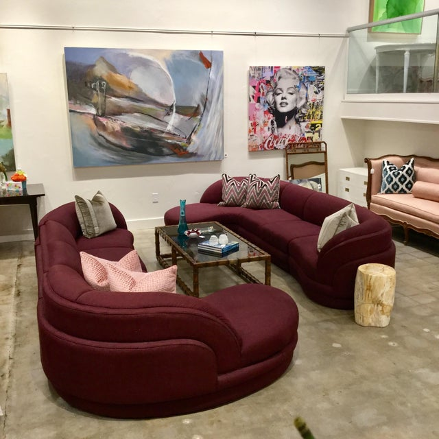 Beautiful Yin Yang opposing chaise lounge sectional sofas by Carsons are in the house. Conversation pit at it's finest....