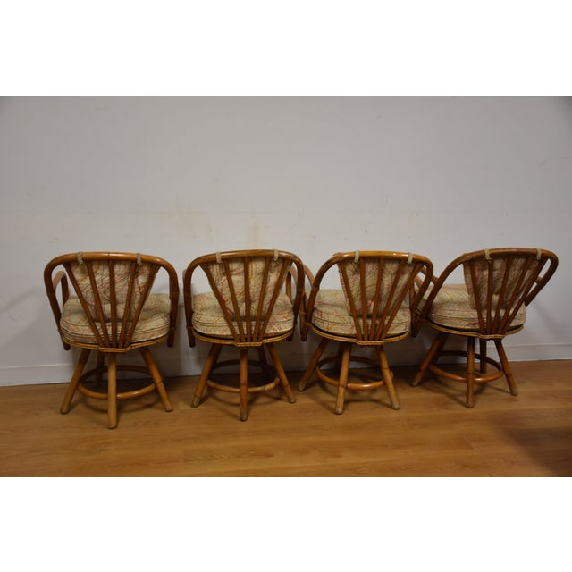 Bamboo Swivel Dining Chairs - Set of 4 - Image 5 of 11