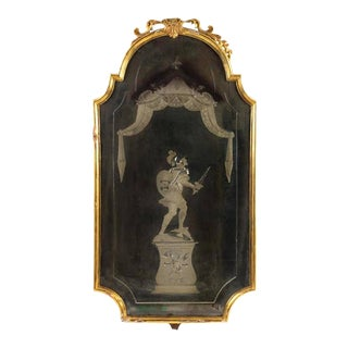 Late 18th Century Italian Mirror With Reverse Etching, Lovely Old Patina For Sale