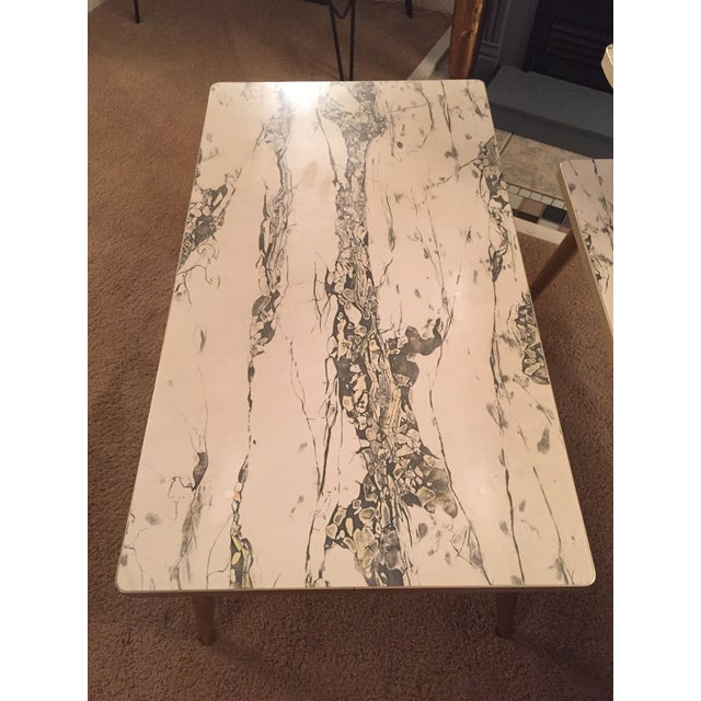 Mid-Century Formica Marble End Tables - A Pair - Image 4 of 10