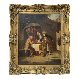 """Late 19th Century """"The Toy Salesman"""" Figurative Oil Painting, Framed For Sale"""