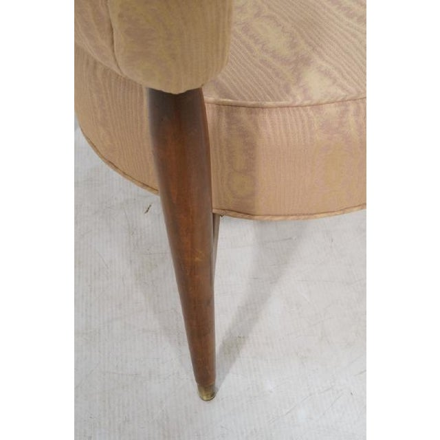 Animal Skin Floating Back Sculptural Modernist Barrel Back Lounge Chair in Tan Moire Fabric Upholstery For Sale - Image 7 of 11