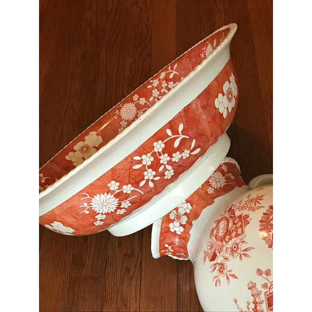 Antique 1890s Spode Copeland Red Large Jug Pitcher & Bowl Set - 2 Pc. For Sale In Los Angeles - Image 6 of 7