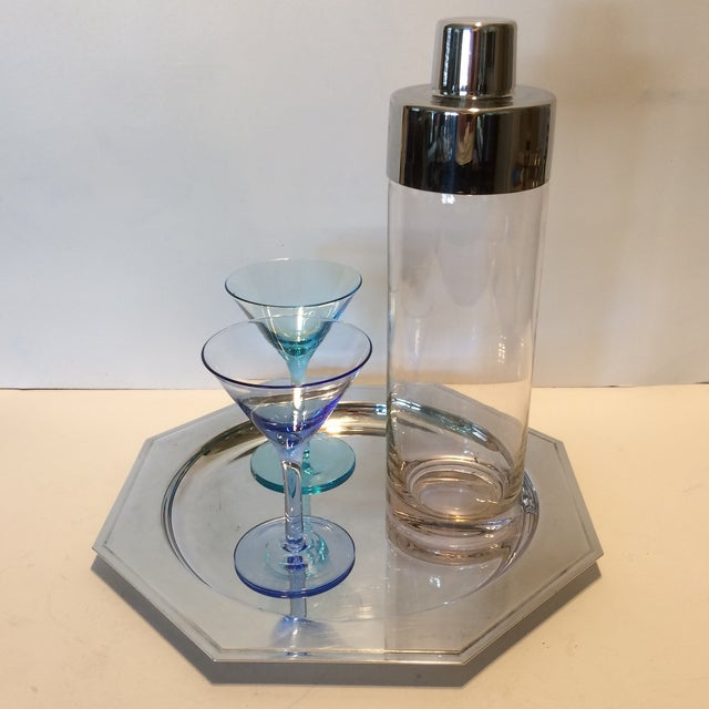 Vintage Martini Shaker with 2 Glasses & Silver Plated Tray Set - Image 3 of 11