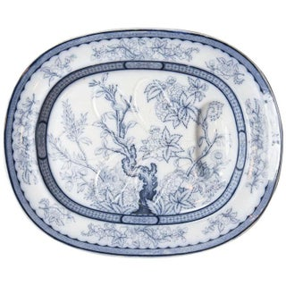Antique Vesper Blue & White Meat Platter For Sale