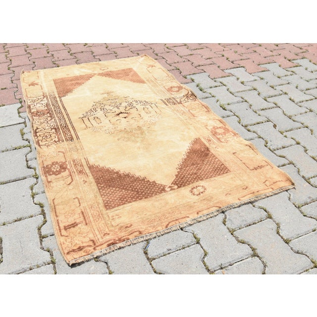 Asian Vintage Turkish Oushak Wool Rug - 2′11″ × 4′7″ For Sale - Image 3 of 6