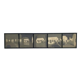 Vintage Mixed Media Artist Signed Five Part Panoramic Southwest Street Scene Painting For Sale