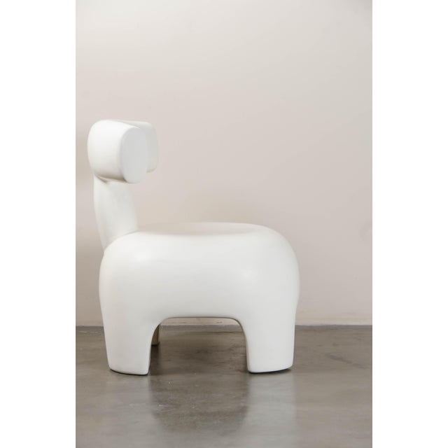 Contemporary Back Rest Chair - Cream Lacquer by Robert Kuo, Hand Repoussé, Limited Edition For Sale - Image 3 of 6