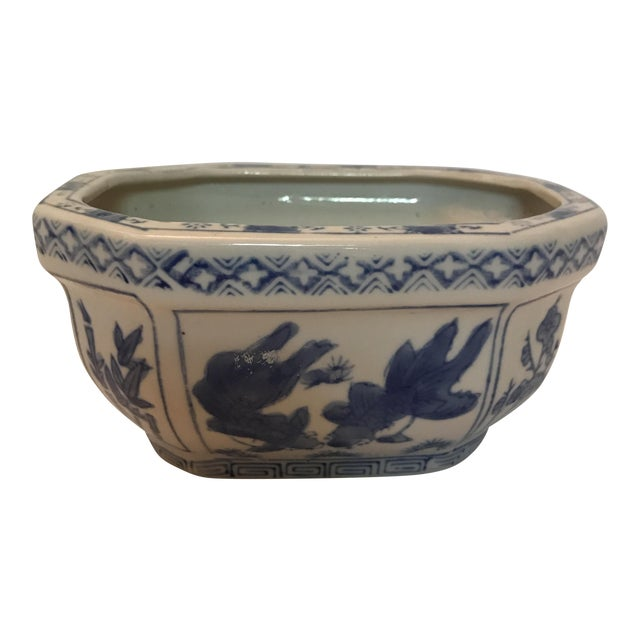 Chinese Blue & White Oval Porcelain Planter For Sale