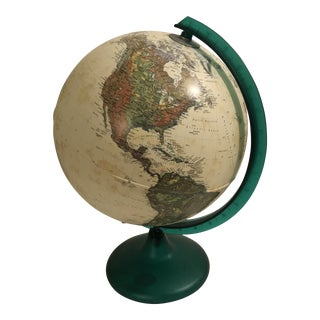 Illuminated Tabletop Globe With Emerald Green Melamine Stand For Sale