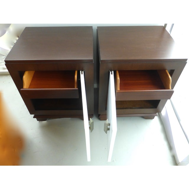Mid-Century Art Deco Style Nightstands - Pair For Sale - Image 4 of 9