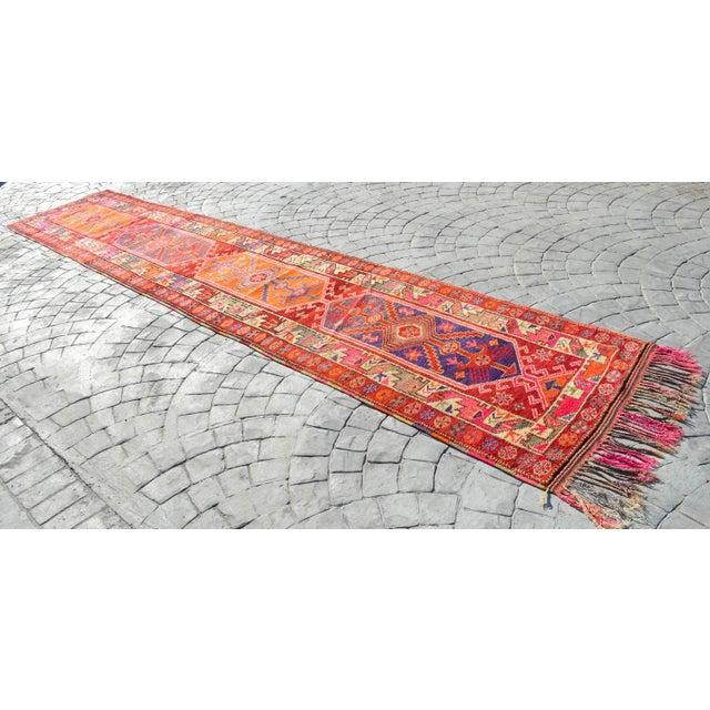 Mid-Century Modern Heterodox Kurdish Runner Herki Rug. Hand-Knotted Colorful Tribal Long Runner - 3′1″× 15′6″ For Sale - Image 3 of 12