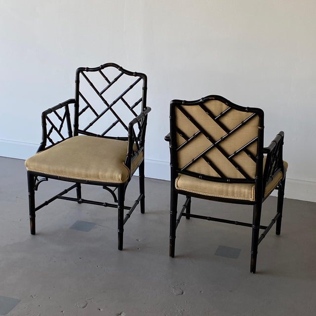 Black Mid 20th Century Faux Bamboo Regency Armchairs - a Pair For Sale - Image 8 of 9