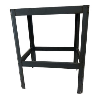 Vintage Industrial Gray Steel Side Table For Sale