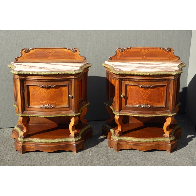 Antique French/Italian White Marble Top Nightstands - a Pair - Image 2 of 11