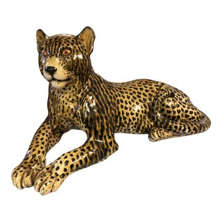 Mid Century Large Italian Terra Cotta Leopard For Sale