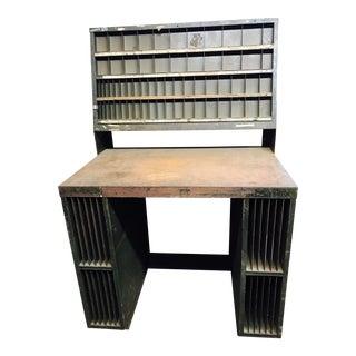 Vintage Industrial 1930s Sorting & Drafting Work Table For Sale