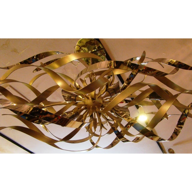 Graffiti Linear Chandelier By Corbett Lighting Silver Leaf Polished Stainless Steel With 6 Halogen