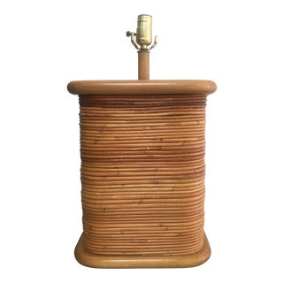 Vintage 1970s Gabriella Crespi Style Pencil Reed Table Lamp For Sale