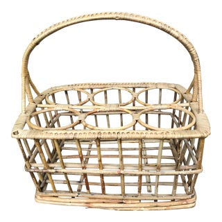 1970s Boho Chic Rattan Bentwood Caddy Rack For Sale