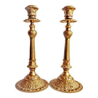 Mid-Century Italian Brass Taper Floor Candle Holders - a Pair For Sale