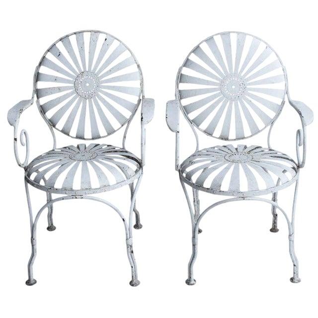 1940s Vintage Francois Carre French Art Deco Iron Pair Sunburst Garden Side Chairs- a Pair For Sale