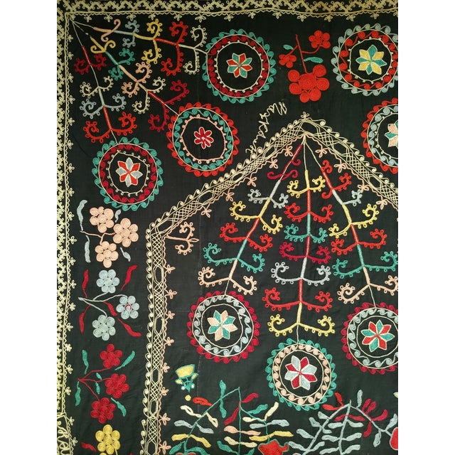 "Late 1800s Hand-Stitched Suzani- 3' X 5' 3"" For Sale In Chicago - Image 6 of 13"