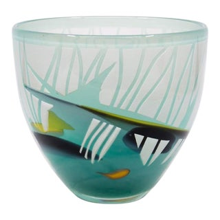 1980's Modern Abstract Blue Glass Bowl For Sale